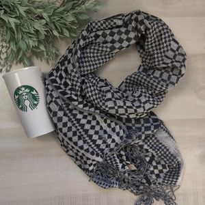 Checkered Pashmina silk blend scarf